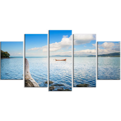 Small Wooden Boat and Tree Trunk Extra Large Seashore Wrapped Art - 5 Panels