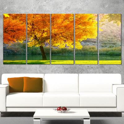 Designart Beautiful Autumn Season in Forest ExtraLarge Landscape Canvas Art - 5 Panels