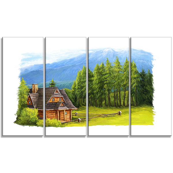 Designart Small Wooden Home in Mountains LandscapeCanvas Art Print - 4 Panels