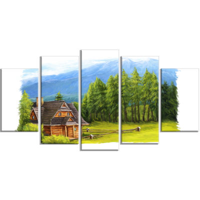 Small Wooden Home in Mountains Landscape Wrapped Art Print - 5 Panels