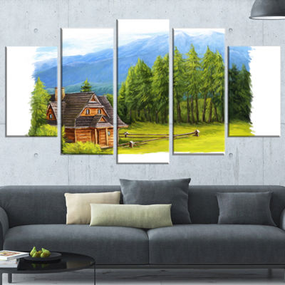 Designart Small Wooden Home in Mountains LandscapeWrapped Art Print - 5 Panels