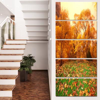 Designart Beautiful Autumn with Green Grass Oversized Landscape Canvas Art - 4 Panels