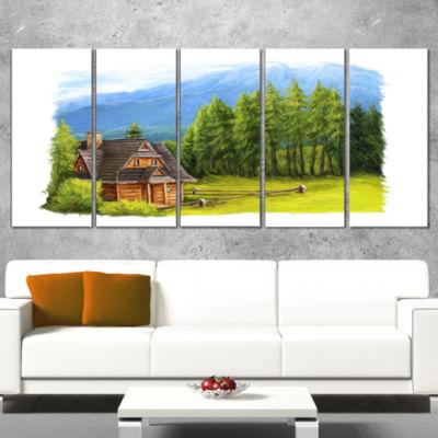 Designart Small Wooden Home in Mountains LandscapeCanvas Art Print - 5 Panels