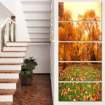 Designart Beautiful Autumn with Green Grass Oversized Landscape Canvas Art - 5 Panels