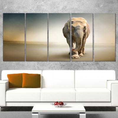 Designart Smart Elephant Walking Animal Wrapped Wall Art - 5Panels