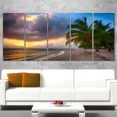 Designart Beautiful Beach with Palms in BarbadosModern Seascape Wrapped Canvas Artwork - 5 Panels