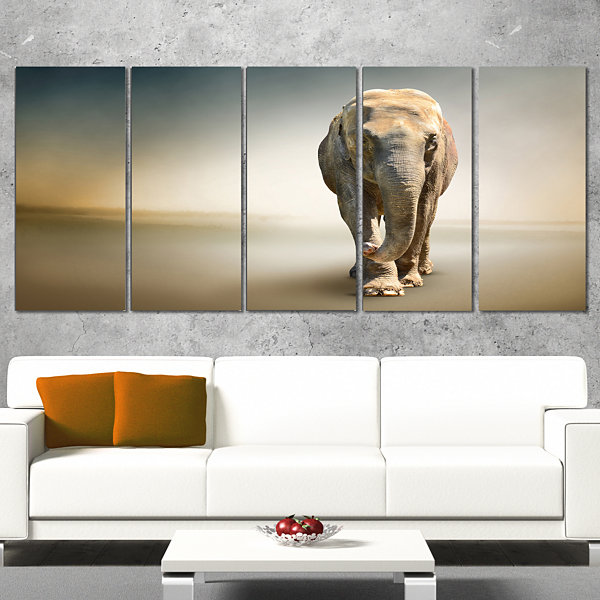 Designart Smart Elephant Walking Animal Canvas Wall Art - 5Panels