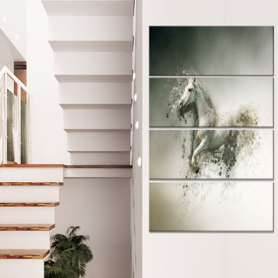 Smart White Horse Running Animal Canvas Wall Art -4 Panels