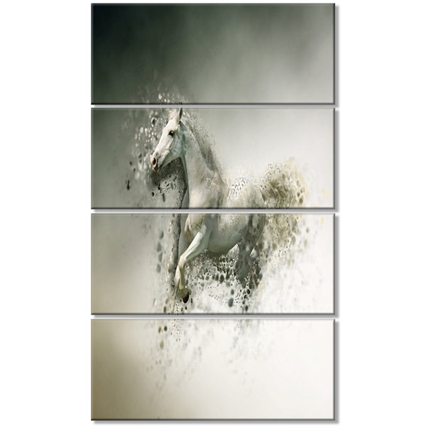 Designart Smart White Horse Running Animal CanvasWall Art -4 Panels