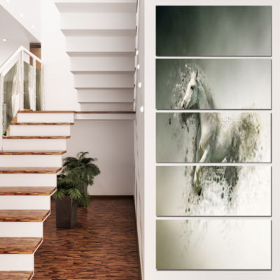 Designart Smart White Horse Running Animal CanvasWall Art -5 Panels