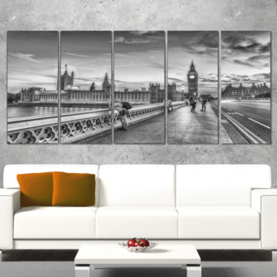 Designart Beautiful Black and White London View Cityscape Canvas Print - 4 Panels