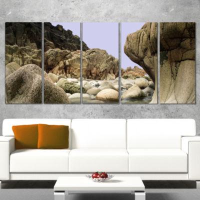 Designart Smooth Rocks in Coastline Panorama Landscape Wrapped Art Print - 5 Panels