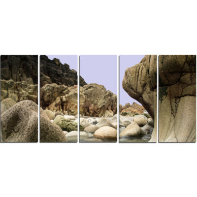 Smooth Rocks in Coastline Panorama Landscape Canvas Art Print - 5 Panels