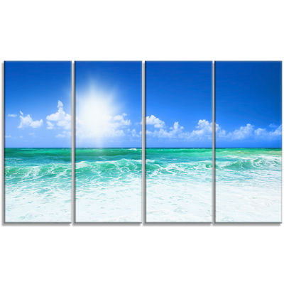 Designart Beautiful Blue Beach Seascape Photography Canvas Art Print - 4 Panels