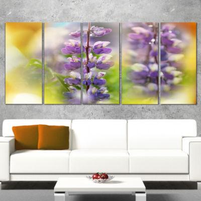 Designart Beautiful Blue Lupin Flowers Large Flower Wrapped Canvas Art Print - 5 Panels