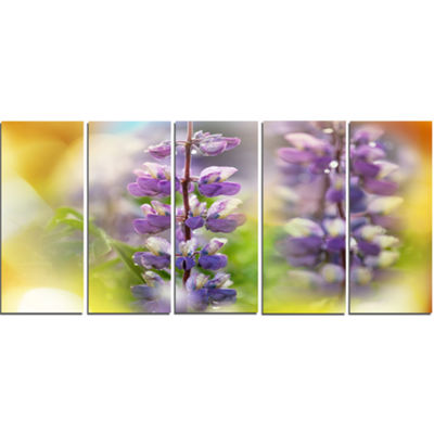 Designart Beautiful Blue Lupin Flowers Large Flower Canvas Art Print - 5 Panels
