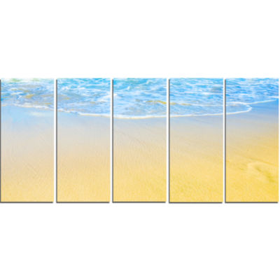Smooth Sea Surf Over Blue Waters Seashore Canvas Art Print - 5 Panels