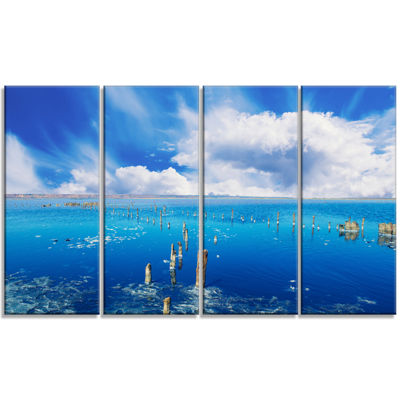 Designart Beautiful Blue Salk Lake Large SeascapeArt CanvasPrint - 4 Panels