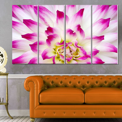 Smooth White Rose Floral Petals Floral Canvas ArtPrint - 4 Panels