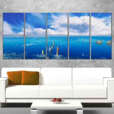 Designart Beautiful Blue Salk Lake Large SeascapeArt CanvasPrint - 5 Panels