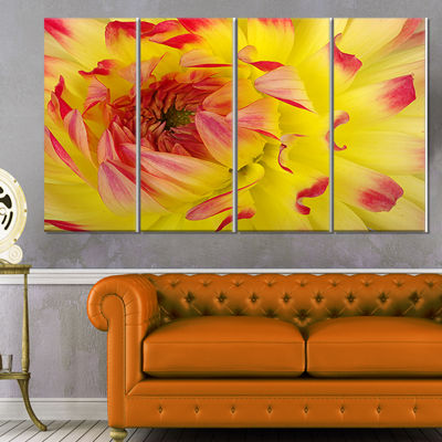 Designart Smooth Yellow Red Petals Close Up FloralCanvas Art Print - 4 Panels