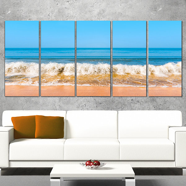 Designart Beautiful Blue Sea and Roaring Waves Beach Photo Wrapped Canvas Print - 5 Panels