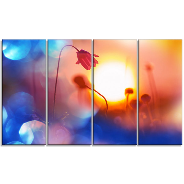 Designart Beautiful Blurred Flowers at Sunset Floral Canvas Art Print - 4 Panels