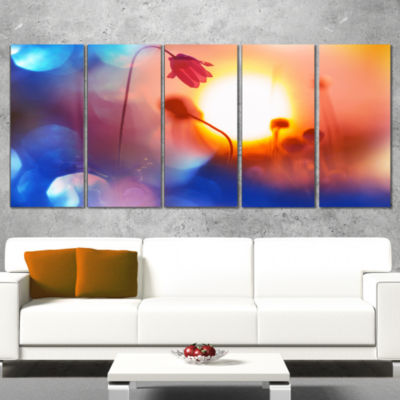Designart Beautiful Blurred Flowers at Sunset Floral Canvas Art Print - 5 Panels