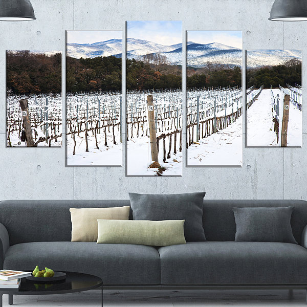 Designart Snow Covered Vineyard Rows Italy Extra Large Landscape Wrapped Art - 5 Panels