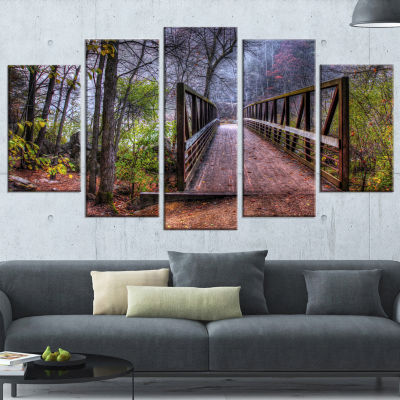 Designart Beautiful Bridge Over Creek Landscape Photo Canvas Art Print - 4 Panels