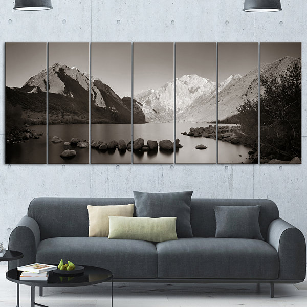 Snow Mountain Lake Panorama Large Landscape CanvasArt - 4 Panels