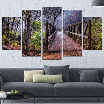 Designart Beautiful Bridge Over Creek Landscape Photo Canvas Art Print - 5 Panels