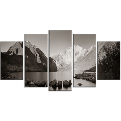 Designart Snow Mountain Lake Panorama Large Landscape Wrapped Art - 5 Panels
