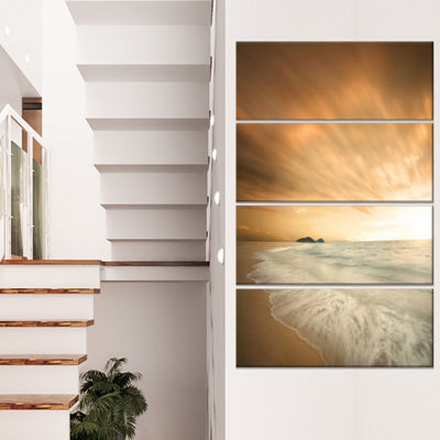 Designart Beautiful Brown Beach at Sunset Large Beach CanvasWall Art - 4 Panels
