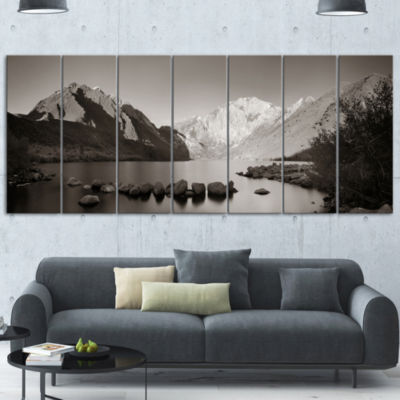 Designart Snow Mountain Lake Panorama Large Landscape CanvasArt - 5 Panels