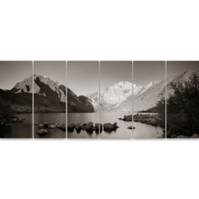 Snow Mountain Lake Panorama Large Landscape CanvasArt 6 Panels