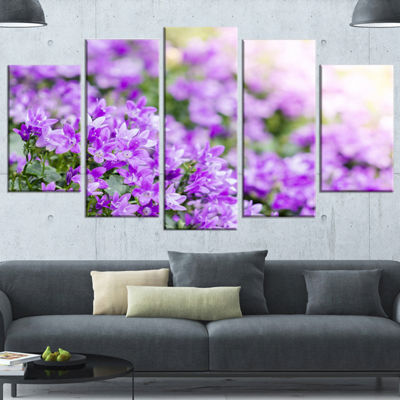 Designart Beautiful Campanula Flower Bouquet LargeFloral Canvas Artwork - 5 Panels