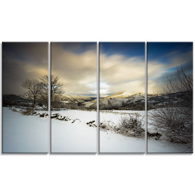 Designart Snow Storm in Spain Landscape Photography Canvas Art Print - 4 Panels