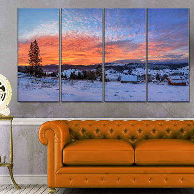 Designart Snowy Colorful Dawn in Mountains Landscape CanvasArt Print - 4 Panels
