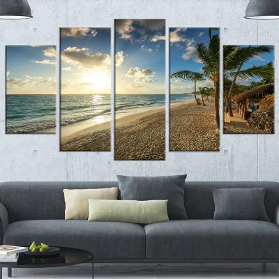 Designart Beautiful Caribbean Vacation Beach LargeBeach Wrapped Canvas Wall Art - 5 Panels