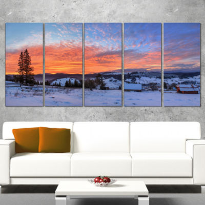 Designart Snowy Colorful Dawn in Mountains Landscape WrappedArt Print - 5 Panels