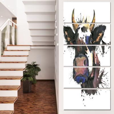 Designart Beautiful Cat Watercolor Graphic AnimalCanvas Wall Art - 4 Panels