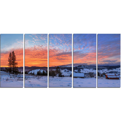 Designart Snowy Colorful Dawn in Mountains Landscape CanvasArt Print - 5 Panels