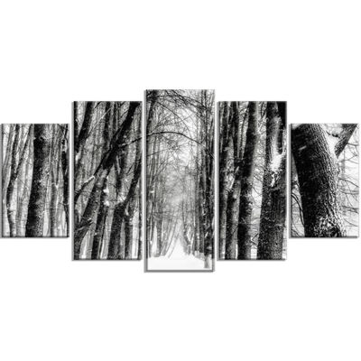 Designart Snowy Forest Black and White Modern Forest WrappedArt - 5 Panels