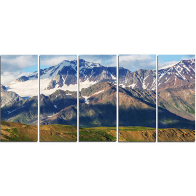 Beautiful Caucasus Mountains Landscape Canvas ArtPrint - 5 Panels
