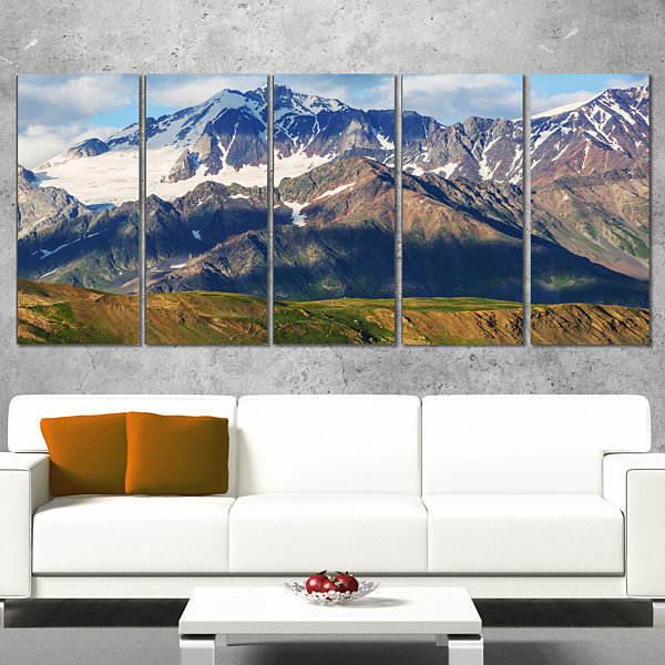 Designart Beautiful Caucasus Mountains LandscapeCanvas Art Print - 5 Panels