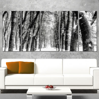 Designart Snowy Forest Black and White Modern Forest CanvasArt - 5 Panels