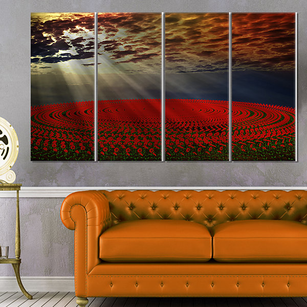 Designart Beautiful Circled Flower Fields FloralCanvas Art Print - 4 Panels