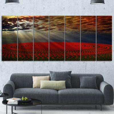 Design Art Beautiful Circled Flower Fields FloralCanvas Art Print 6 Panels