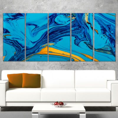 Designart Soft Blue Abstract Acrylic Paint Mix Abstract Arton Canvas - 4 Panels